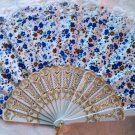 "Folding Fan, Blue & White floral, White lace by ""Silk Breeze"""