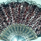 "Folding Fan, Lavender silk with Leopard design with black lace trim by ""Silk Breeze"""