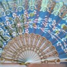 "Folding Fan, Sky Blue silk with gold and white floral sprayby ""Silk Breeze"""