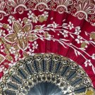 "Folding Fan, Ruby red silk with gold and white floral spray by ""Silk Breeze"""