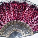 "Folding Fan, Hot Pink silk with Jaguar design with black lace trim by ""Silk Breeze"""