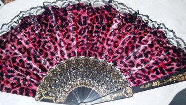 "Folding Fan, Hot Pink silk with Jaguar design with black lace trim by ""Silk Breeze"""