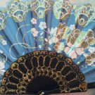 "Folding Fan, Sky Blue silk with gold and white flowers by ""Silk Breeze"""