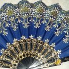 "Folding Fan Midnight blue silk with white & gold floral design with white flowers by ""Silk Breeze"""