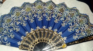 """Folding Fan Midnight blue silk with white & gold floral design with white flowers by """"Silk Breeze"""""""