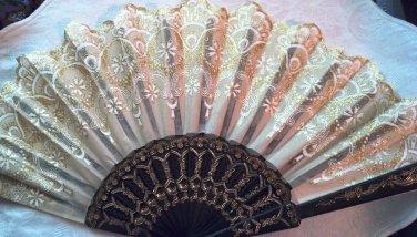 """Folding Fan, Golden silk, quarter moon & teardrop floral design by """"Silk Breeze"""""""