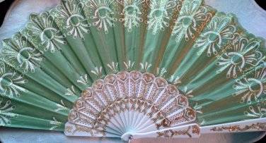 """Folding Fan, Sage Green silk with gold and white floral burst design by """"Silk Breeze"""""""