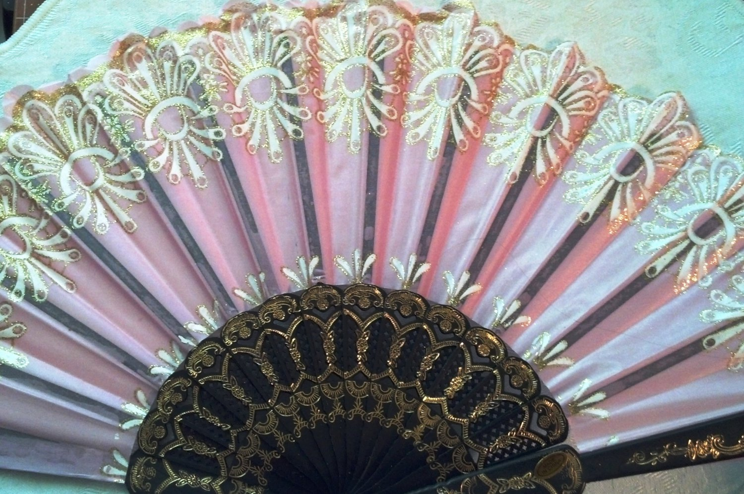 "Folding Fan, dusty pink silk with gold and white floral burst by ""Silk Breeze"""