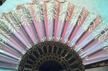 """Folding Fan, dusty pink silk with gold and white floral burst by """"Silk Breeze"""""""