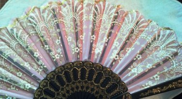 "Folding Fan, dusty pink silk with gold and white floral sunburst by ""Silk Breeze"""