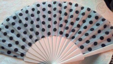 """Folding Fan, white silk with black polka dots by """"Silk Breeze"""""""