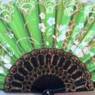 "Folding Fan, Spring Green silk with gold and white sunburst floral bouquet design by ""Silk Breeze"""