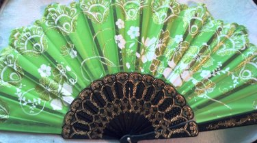"""Folding Fan, Spring Green silk with gold and white sunburst floral bouquet design by """"Silk Breeze"""""""