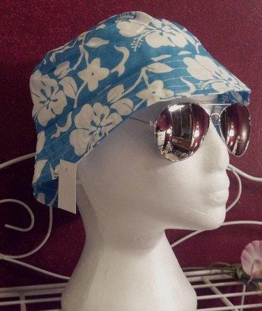 Blue Hibiscus flower design bucket hats, junior/Ladies size