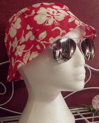 Red Hibiscus flower design bucket hats, junior/Ladies size