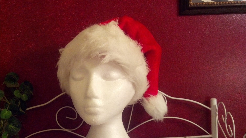 15% off CHRISTMAS---  Santa Claus Hat, bright red. Faux white fur trim