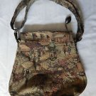 New HANDCRAFTED by A.RUIZ  Lined Shoulder Bag Brown&Tan CHENILLE Tapestry