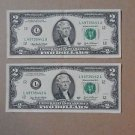 2003 UNCIRCULATED $2 TWO Dollar SEQUENTIAL ORDER Bill Mint Crisp Notes 2ea