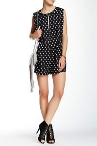 New FREE PEOPLE Ashley Print Linen Blend Romper Sz L Retail $128