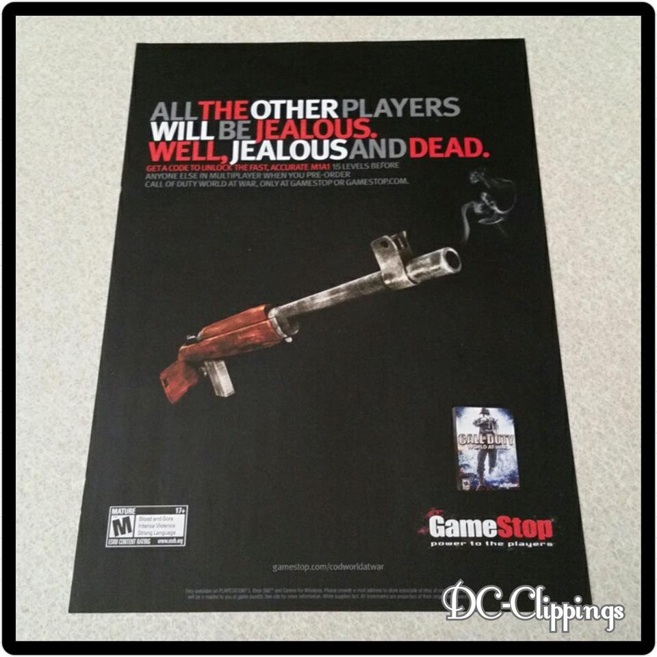 Call Of Duty World At War Video Game Ad/Clipping
