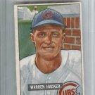 1951 Bowman Baseball Card Warren HACKER #318 VG-EX $50 Book Value Chicago Cubs