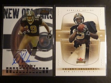 (8) Devery Henderson Rookie Card RC Lot Auto Graph Jersey Saints Topps Finest UD