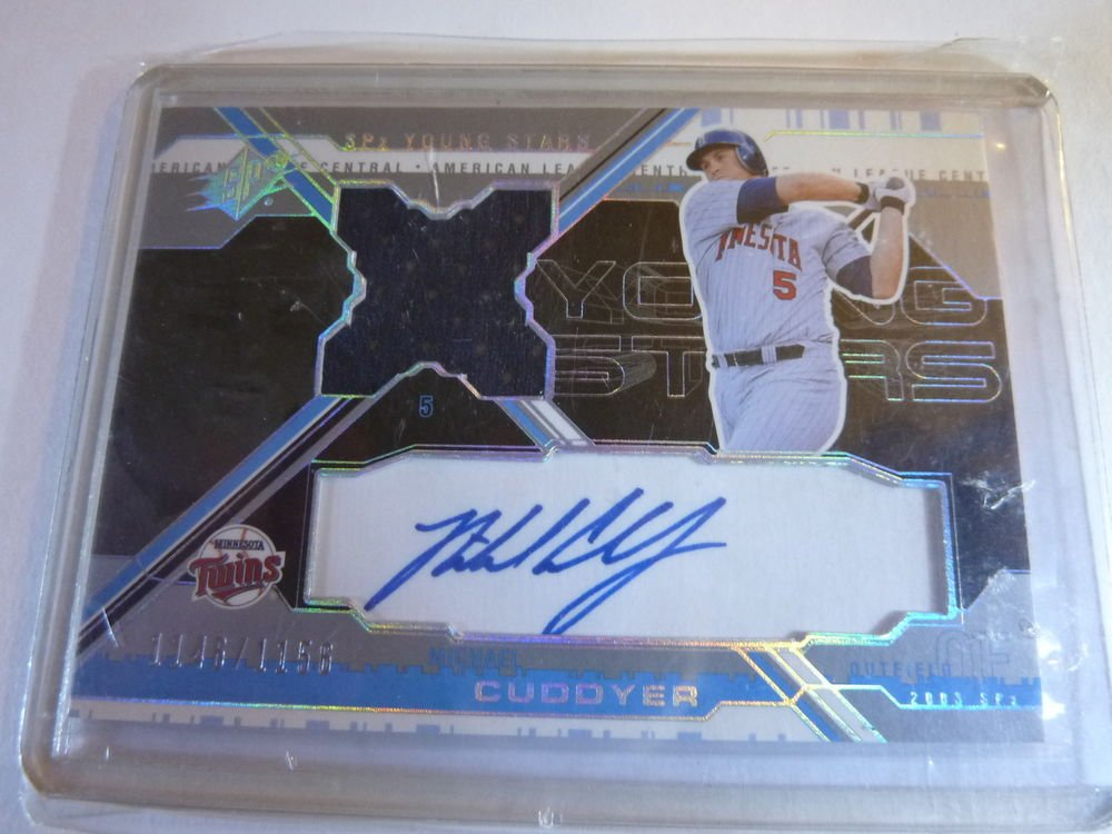 MICHAEL CUDDYER 2003 SPX Young Stars GU Jersey Auto Graph Card #/1156 MINT YS-MC