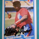 1990 Fleer MARQUIS GRISSOM Hand Signed Auto Graph Rookie Baseball Card RC Expos