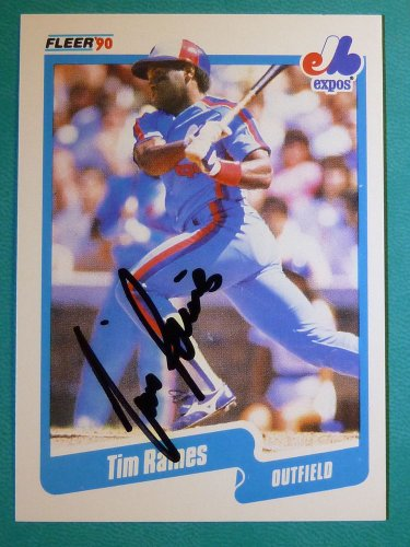"1990 Fleer TIM ""ROCK"" RAINES Hand Signed Auto Graph Baseball Card #359 White Sox"