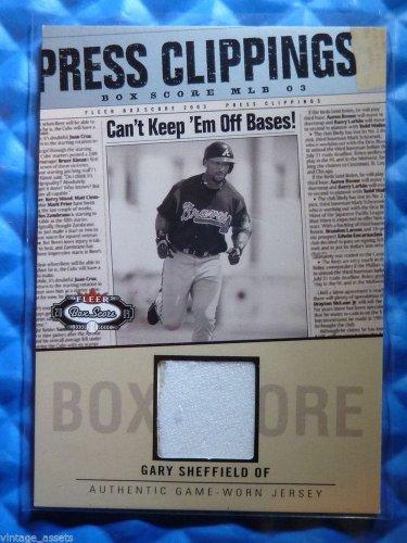 2003 Fleer Box Score GARY SHEFFIELD Press Clippings Jersey Patch #GS-PC