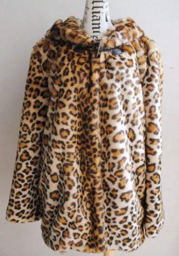 d9092c080d4a Forever 21 Wild Leopard Animal Print Faux Fur Bear Ear Hooded Swing Coat  Jacket