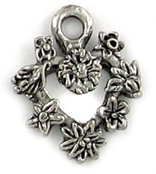 Flower Heart lead free pewter charm lot 25 pieces