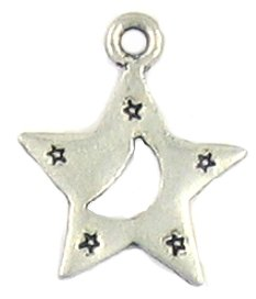 Star with Moon Lead free pewter charm lot 25 pieces