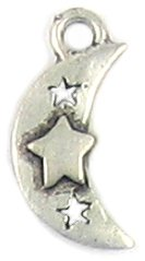 Moon with Star lead free pewter charm lot 25 pieces