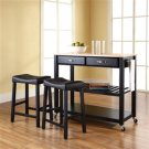 Stainless Steel Top Kitchen Cart Island | Black