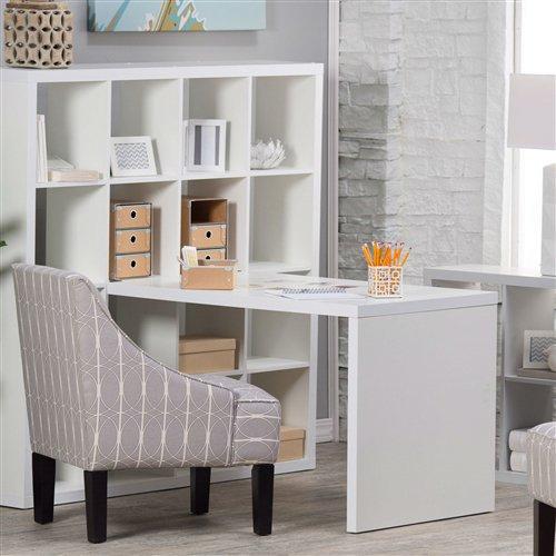 Modern Honeycomb Bookcase Computer Desk | White