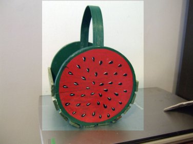 Little Wooden Slat Watermelon Basket with Handle