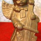Vintage Ceramic Angel with Cello Figurine, Gold, 5.5""
