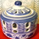 Two Vintage Ceramic Blue & White Incense/Potpourri/Trinket/Votive Pots w/lids