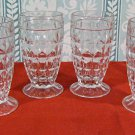 Four Pressed Glass Footed Juice Glasses in Diamond/Cube Pattern