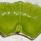 California Pottery Side Bowl Lazy Susan Carousel, Green w/Gold  G 20, Small Chip