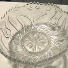 Large Heavy Pressed Glass Bowl with Intaglio Tulips & Daisies, Sawtooth Rim