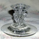 "Crystal Candlestick, Fat Faceted Stem and 4.5"" Wide Foot"