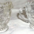 Anchor Hocking Bubble Pattern Sugar and Creamer Set- Footed