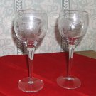 Pair of Cut crystal Wine Glasses, in Delicate Floral Pattern