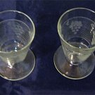 Set of two cut glass & etched cordial / apertif / liquer glasses, grape bunch