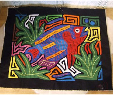 Folk art needlework, combo of applique and embroidery of fish
