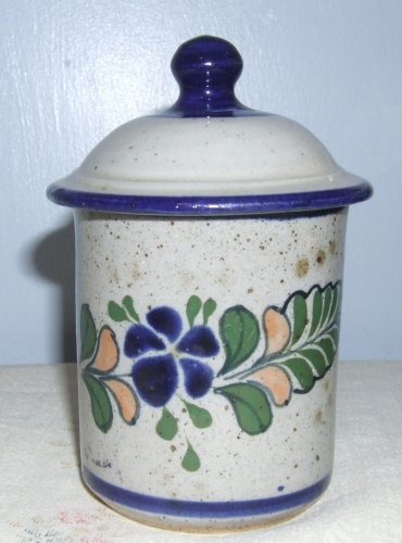 Handpainted Netzi Mex Pottery Container w/Knobbed Lid, Signed, 5.5""