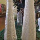 Two Vintage Milk Glass Vases