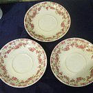 Three Vintage Lamberton Scammell China Saucers in Pink Floral Garland